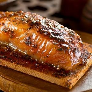 Cedar Planked Hickory Balsamic Mustard Glazed Salmon