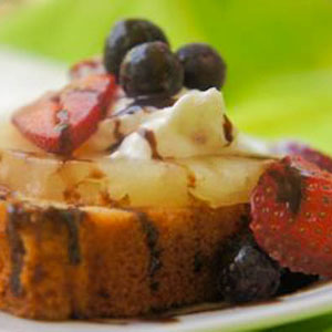Grilled Pound Cake with Chocolate Balsamic and Fruit
